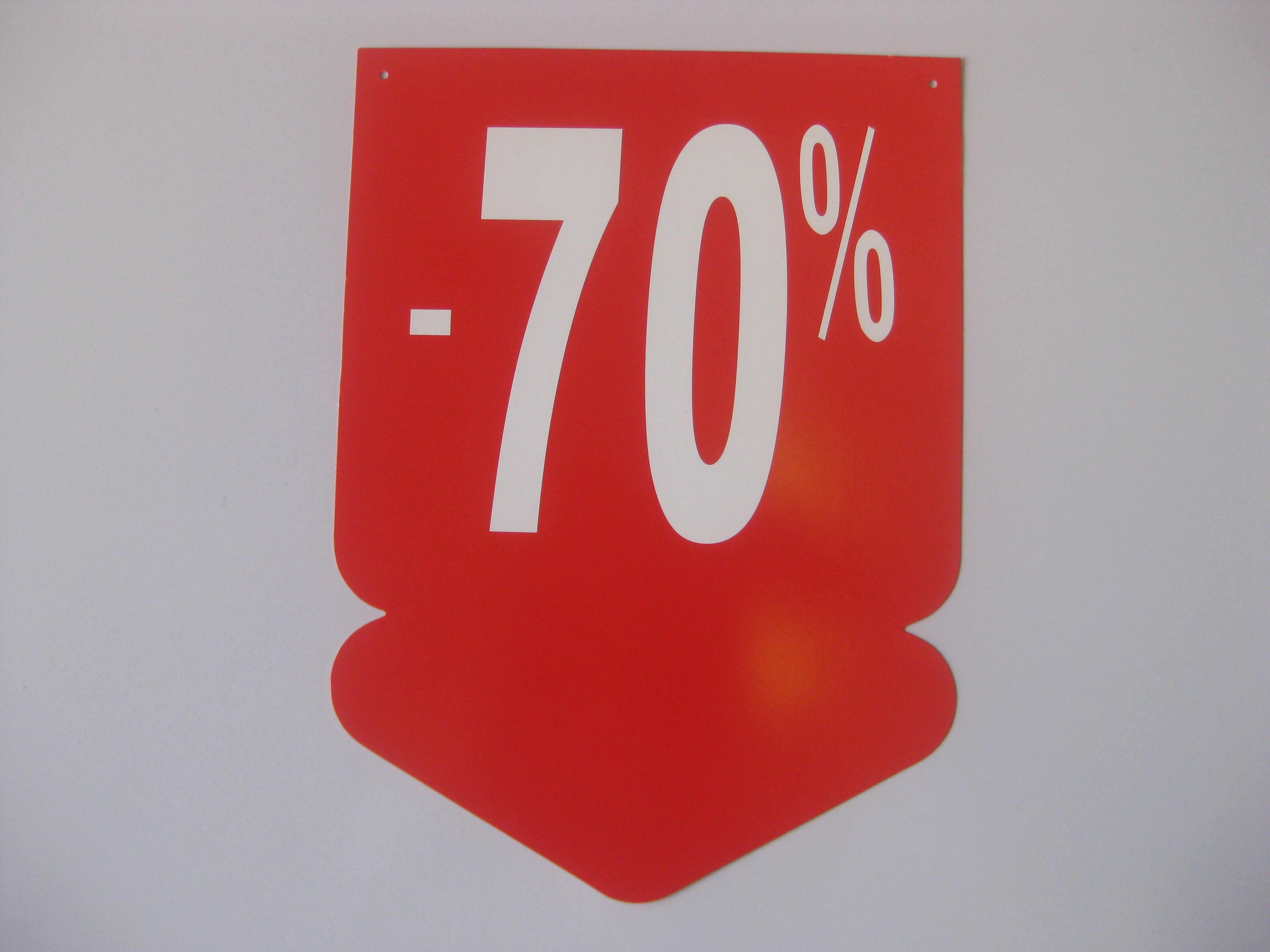 Detail produktu visačky šípka -70%velikost 24x33cm.