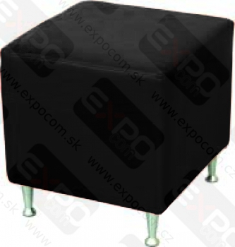 Detail produktu Koženkový taburet kostka, černý