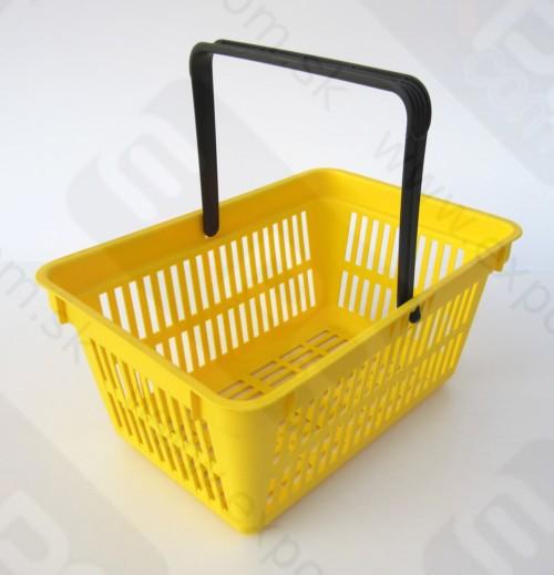 Detail produktu nákupní košík plastový s 1 držadlem. Žlutý